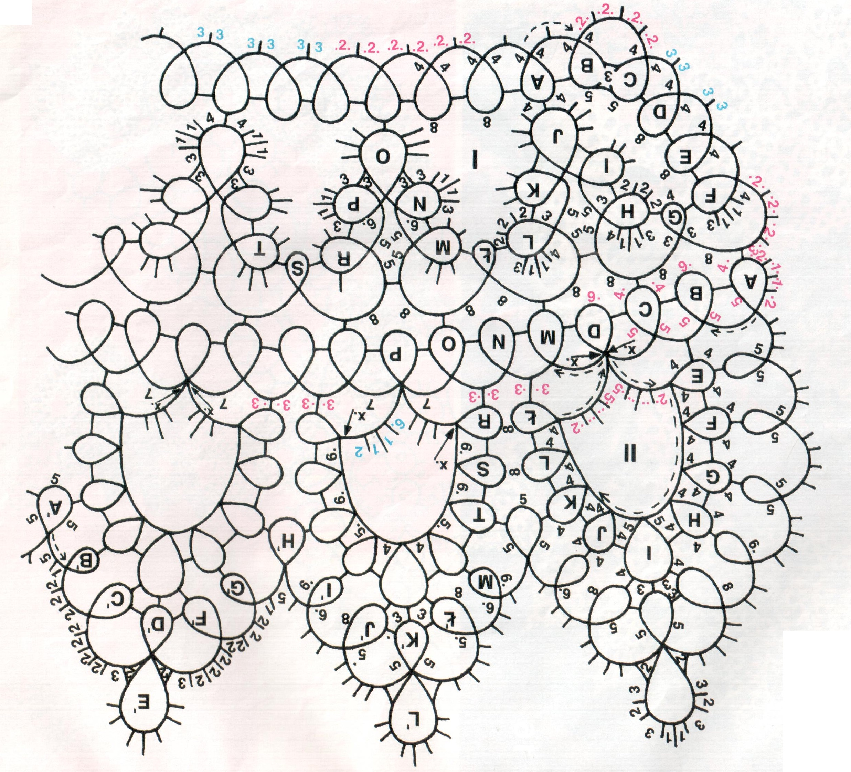 схема плетения воротничка из бусинок