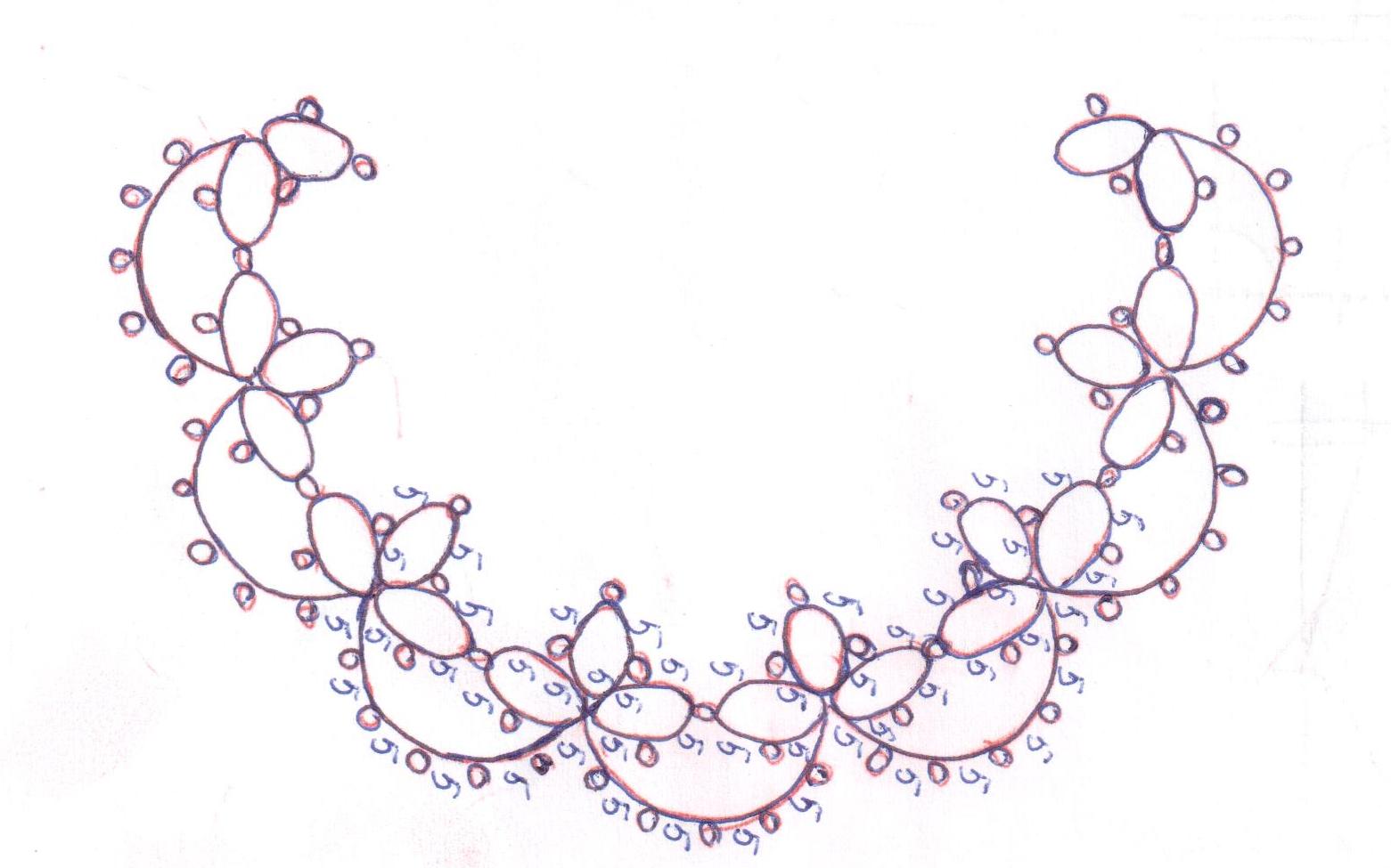 схема плетения отделки горловины техникой фриволите